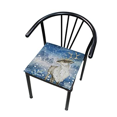 "Bardic HNTGHX Outdoor/Indoor Chair Cushion Watercolor Winter Elk Square Memory Foam Seat Pads Cushion for Patio Dining, 16"" x 16"": Home & Kitchen"