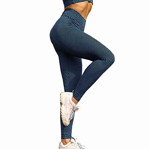 69e4b11bc ROFIFY Women's Yoga Pants Plaid Pattern Sports Breathable Slim and Quick  Dry Outdoor Exercise Leggings-