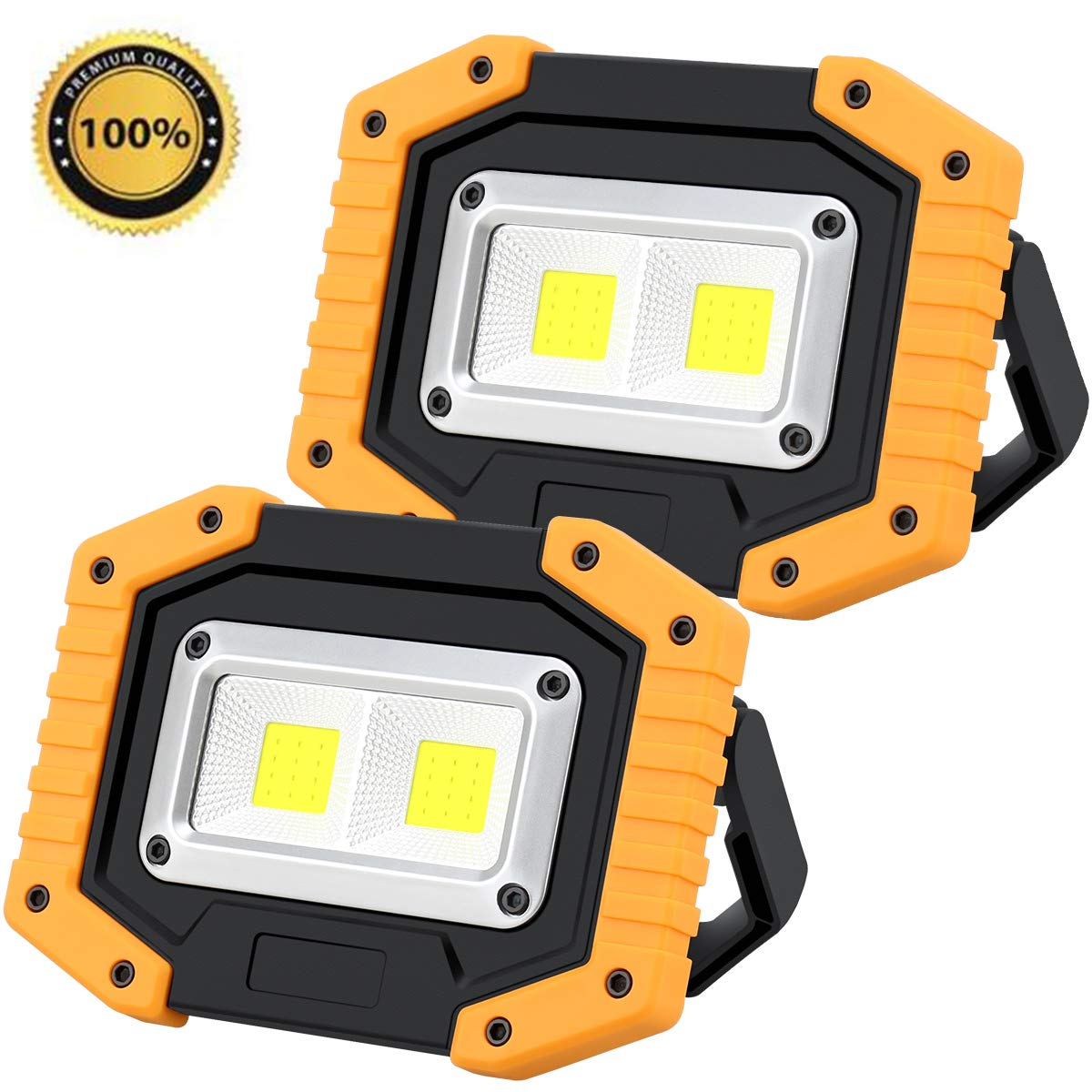 【Upgraded】Rechargeable LED Work Light, 30W 1200LM Portable LED Flood Lights for Outdoor Camping Fishing Hiking Emergency Car Repairing Job Lighting Workshop Construction Site COB Lights(2 Pack)