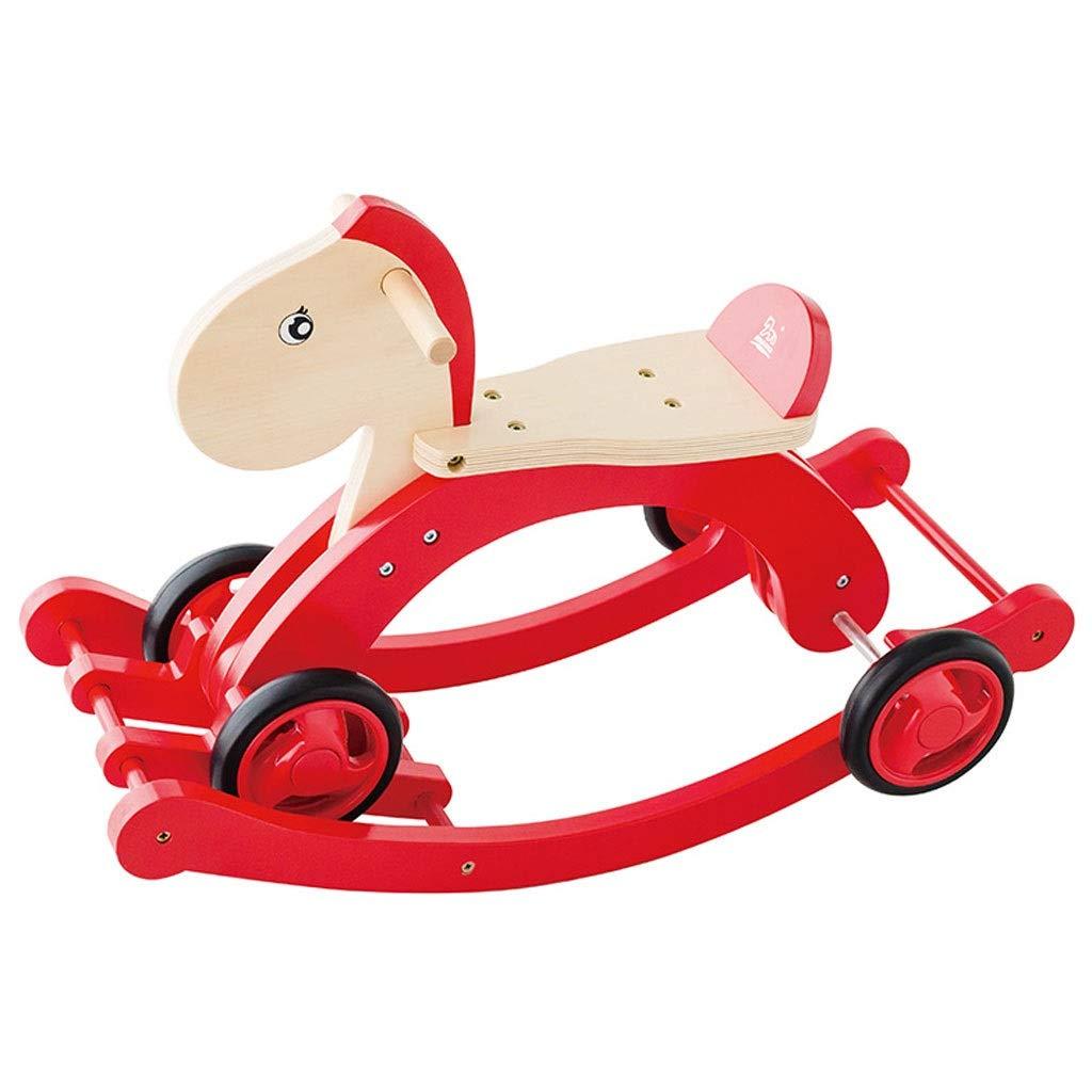 YangMi 子供用の木馬- 子供のロッキングホース車のおもちゃ幼児ペダル車デュアルユース、屋内と屋外の子供の赤無垢材のおもちゃ (色 : 赤, サイズ さいず : 71x25.6x47cm) 71x25.6x47cm 赤 B07QHKD616