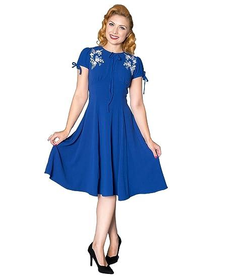 Sheen Ava 40s Vintage Style Royal Blue Tea Dress - UK 16 (XL)