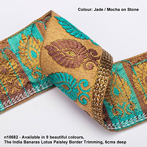 Neotrims Lotus Paisley Floral Jacquard Silk Handle Ribbon Trim Decoration; Traditional 9 meters Reel for Sari Border. Also for Salwar Kameez, For Crafts and Home Décor. 6cms Deep Upright Decorative Paisley design set on a Natural Stone Colour Imitation Raw Silk Effect Base & Contrast Rayon Colours. 9 Gorgeous Colours. Its Stunning: The Benares Lotus Paisley Design trim. Buy by the meter or 1 reel of 9 meters Sari length. Bargain Price for 1 Reel!