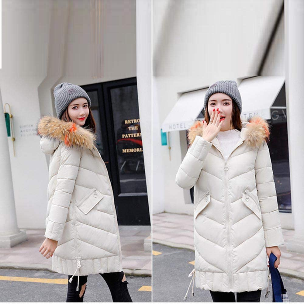 Women Winter Warm Thick Outerwear Hooded Coat Slim Cotton-Padded Jacket Womens Coats