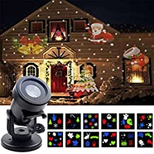 Pocketman Halloween Christmas Projector Lights Outdoor Holiday Light with Snowflake,12 Switchable Patterns,Led Landscape Spotlight for Home Decoration Birthday Party
