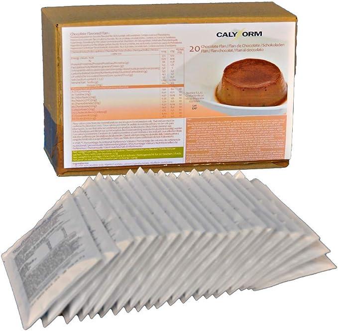CALYFORM Flan Proteico para Adelgazar Rápido, Flanes Proteinas Saciantes para Perder Peso, sabor Chocolate - 20 Sobres