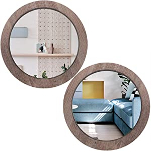 Wocred 2 PCS Round Mirror for Wall Decor, Elegant Wall Mirror, Barn Wood Color Entry Mirror for Entryways, Washrooms, Living Rooms and More (11.8