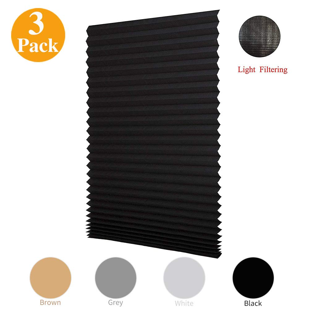LUCKUP 3 Pack Cordless Light Filtering Pleated Fabric Shade,Easy To Cut and Install, with 6 Clips (36''x72'' - 3 Pack, Black)
