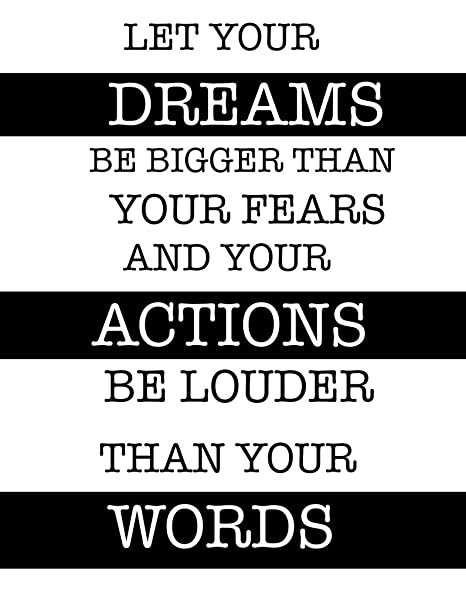 Typography Art Quotes Dream Action Words Motivational Poster