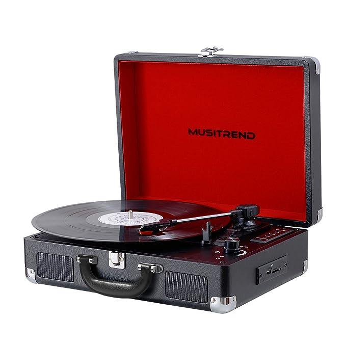 MUSITREND Tocadiscos 33/45/78 RPM, Maleta Portátil con 2 Altavoces ...