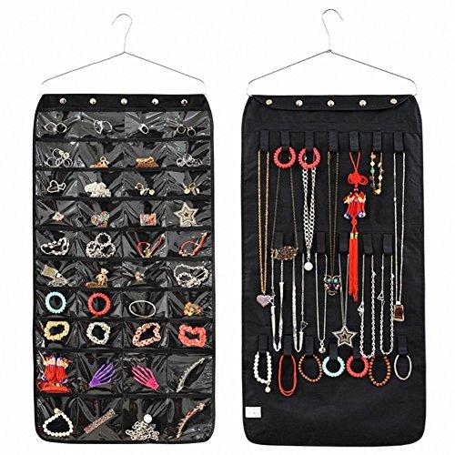 IDecHome Hanging Jewlery Organizer, Dual Sided Pockets Hooks