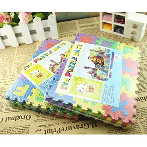 sholdnut 36PCS/Set Foam Baby Kids Puzzle Play Mats, Interlocking Alphabet and Number Educational Play Exercise Jigsaw Mat