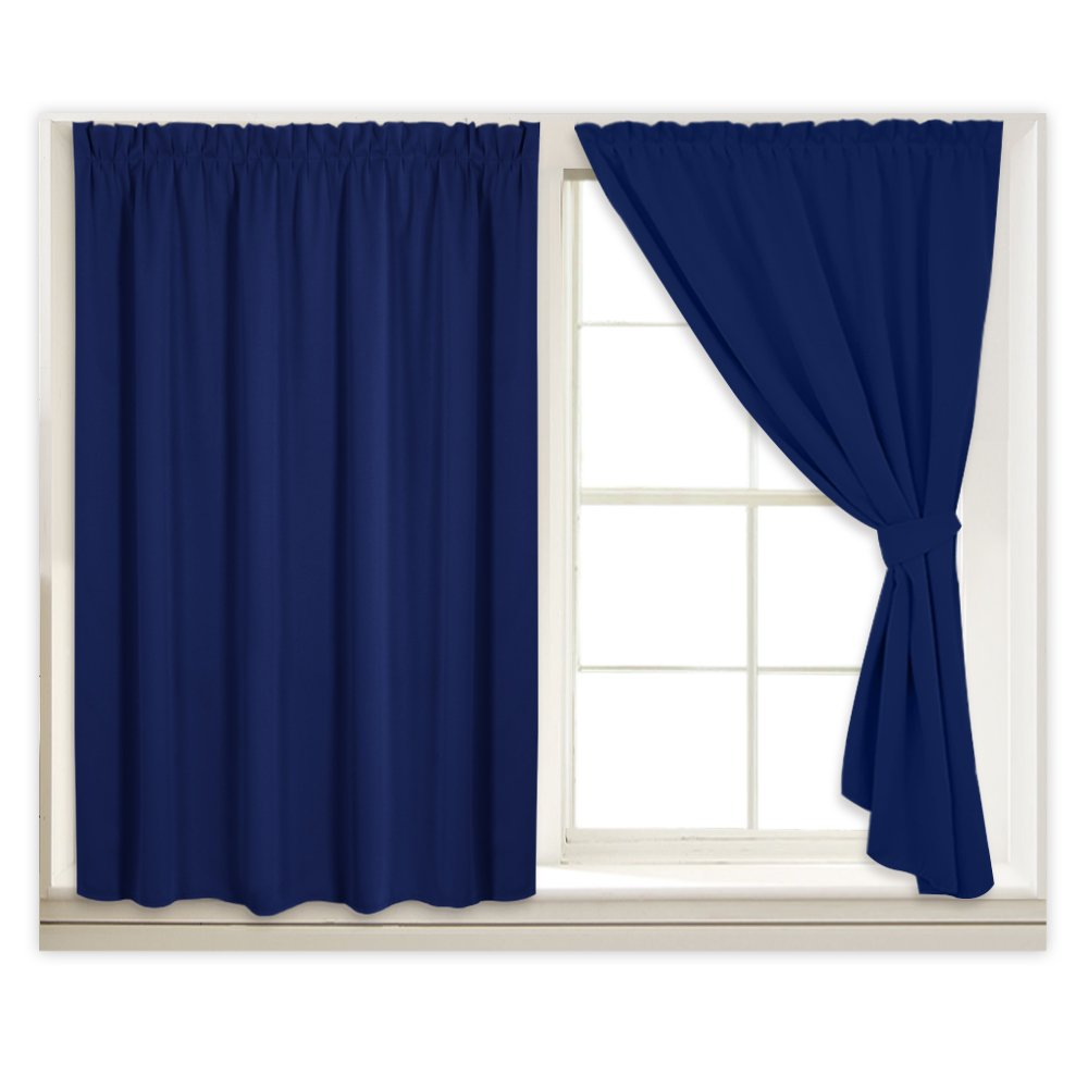 RYB HOME Pleated Room Darkening Blind Self-Adhesive Blackout Curtains Match with Window-Shades Privacy Protect Light Block with 2 Tie Backs for Rent House/Stairwell, 40 x 45 inch, Navy Blue, 2 Pcs