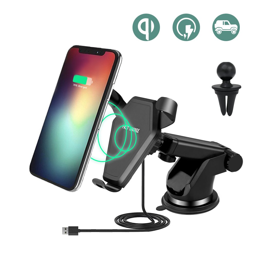 Keyye Qi Caricatore Wireless Auto, Car Charger Wireless,per Samsung, iPhone KY-WCC004