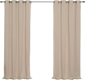 "Best Home Fashion Basic Thermal Insulated Blackout Curtains - Antique Bronze Grommet Top - Beige - 52"" W x 84"" L – (Set of 2 Panels)"