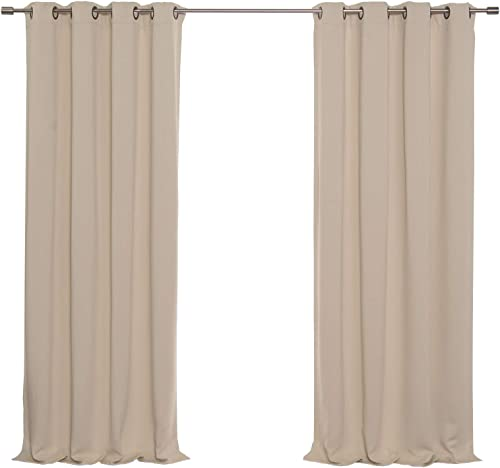 Best Home Fashion Basic Thermal Insulated Blackout Curtains – Antique Bronze Grommet Top – Beige – 52 W x 96 L Set of 2 Panels