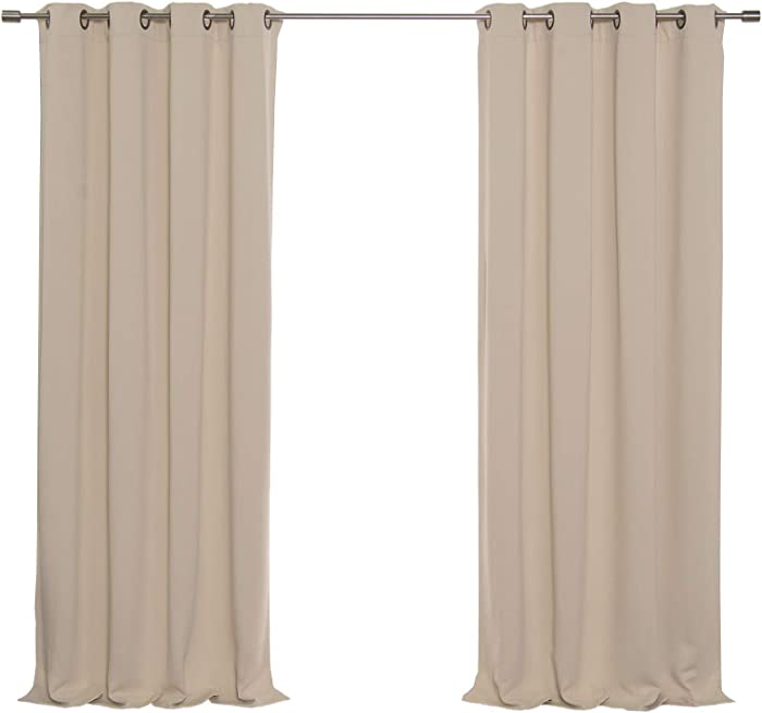 """Best Home Fashion Basic Thermal Insulated Blackout Curtains - Antique Bronze Grommet Top - Beige - 52"""" W x 84"""" L – (Set of 2 Panels)"""