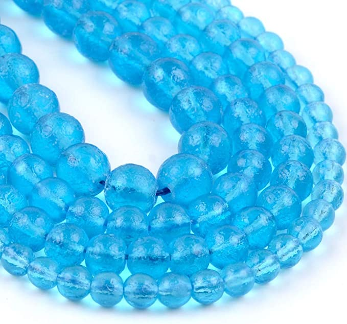 """Amazon.com: 6 8 10mm Natural Stone Beads Lake Blue Moldavite Stone Round Loose Beads for Jewelry Making DIY Bracelet Accessories 15"""", (10mm Approx 37pcs): Home & Kitchen"""