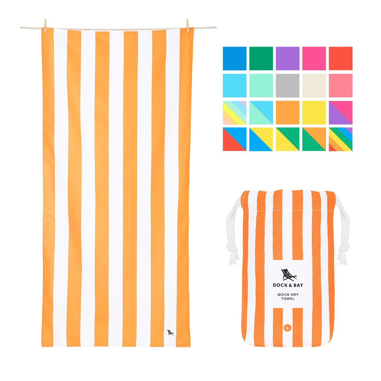Dock & Bay Sand Free Beach Towel Microfibre - Ipanema Orange, Large (160x80cm, 63x31) - Fast Drying Camping Towel for Sports, Pool, Bath Towel