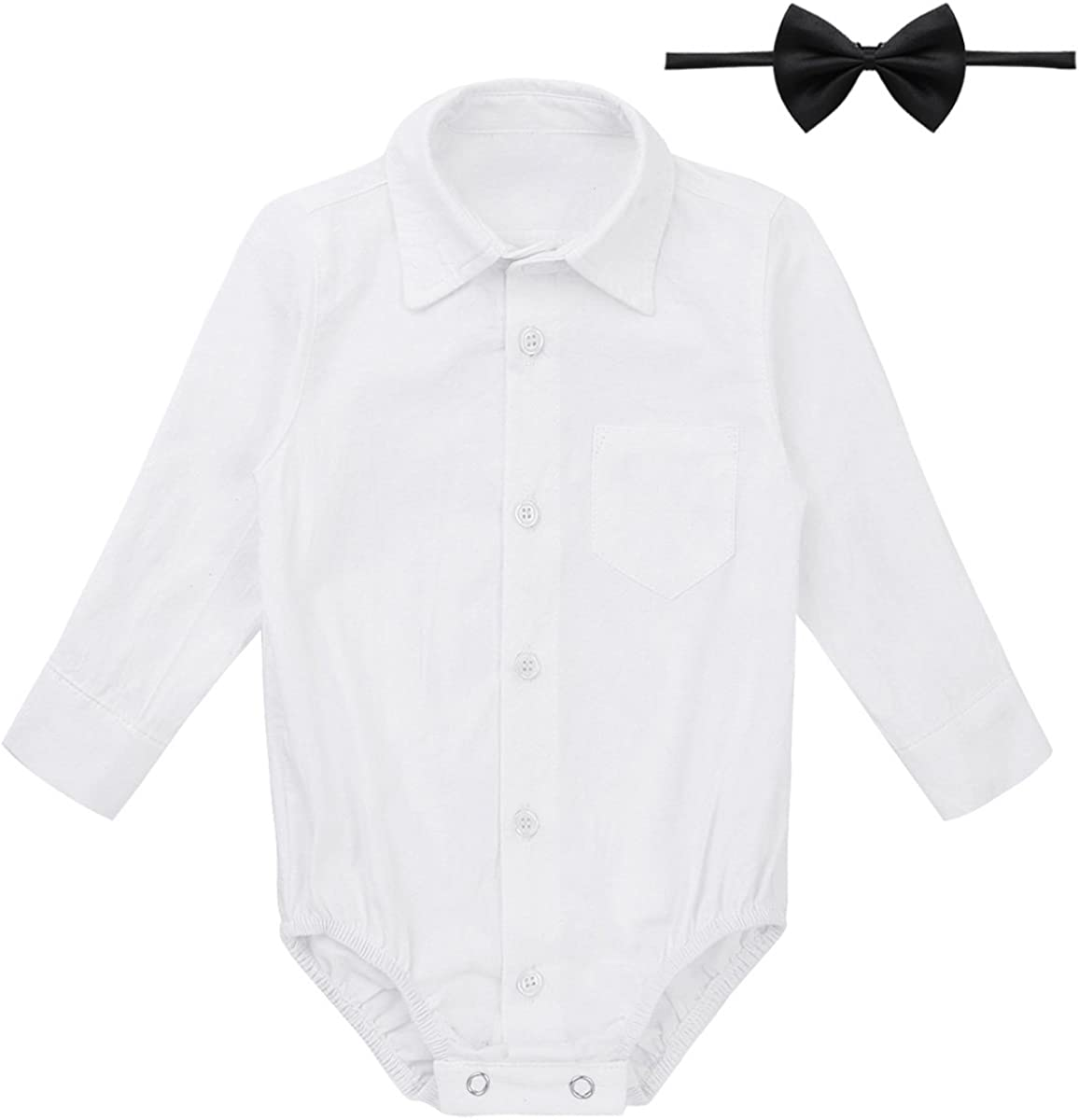 MSemis Infant Baby Boys Short//Long Sleeves Gentleman Bowtie Shirt Romper Bodysuit Toddlers Wedding Party Dresses