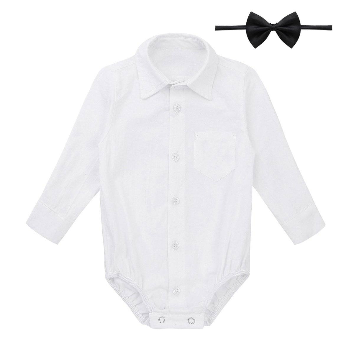 c66c5419cd99d Amazon.com: FEESHOW Infant Baby Boys Callored Long Sleeve Formal Dress  Shirt Bodysuit Gentleman Romper Wedding Party Outfits: Clothing