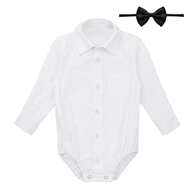 9d339a578 FEESHOW Infant Baby Boys Callored Long Sleeve Formal Dress Shirt Bodysuit  Gentleman Romper Wedding Party Outfits