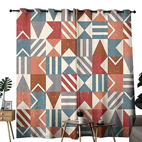 duommhome Abstract Decor Polyester Curtain Retro Grunge Geometric Forms Mosaic Tile Style Triangles Stripes Squares Artwork Beautiful and Elegant W72 xL72 Multi ()