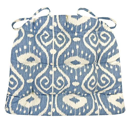 Dining Chair Pad with Ties - Bali Ikat Blue - Standard Size - Reversible, Tufted, Latex Foam Filled Cushion (Blue, Standard)