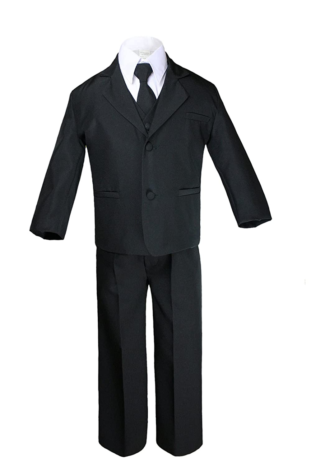 S-20 Unotux 7pc Boy Black Suit with Light Champagne Vest Set from Baby to Teen