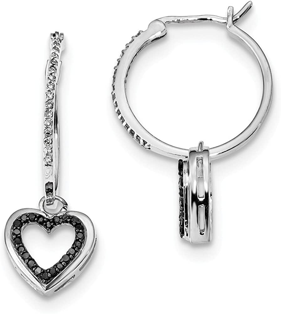 Black Bow Jewelry Black & White Diamond Dangle Heart Hoop Earrings in Sterling Silver