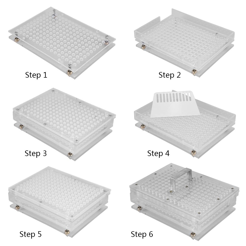Acrylic Empty Capsule Plates Holder With Spreader, 187 Holes Vitamins Coffee Powder Manual Filling Capsules Manual Machine Tool (00#) by ZJchao (Image #3)
