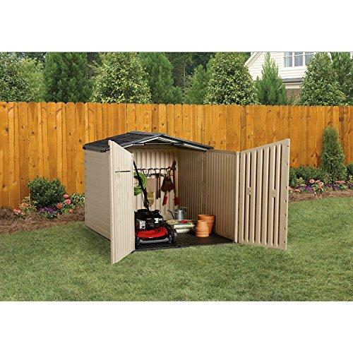 Rubbermaid outdoor slide lid storage shed 96 cu ft for Garden shed uae