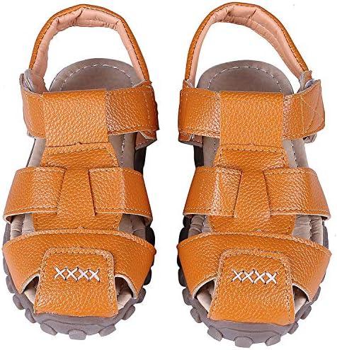 Beslip Boys Leather Closed Toe Sport Sandals Soft Kids Anti Slip Shoes Summer Outdoor Strap Sandal Black 29