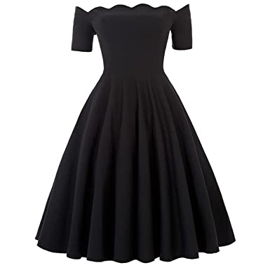 Sexy Off Shoulder Autumn Rockabilly Pinup Wiggle 50s Vintage Dress Vestido,1 Black Vintage Dress