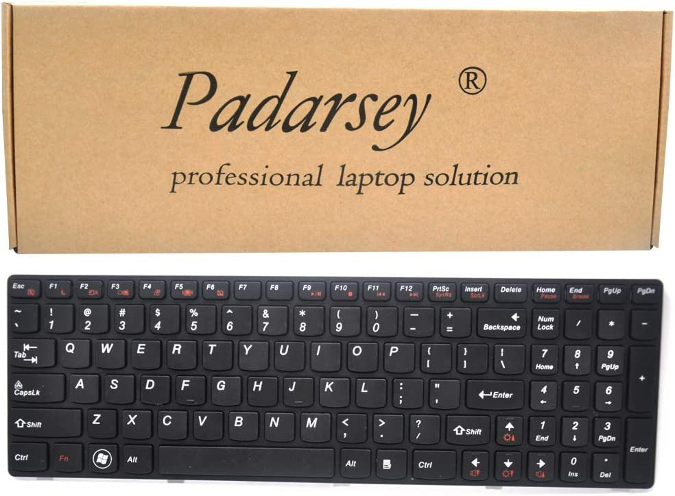Padarsey Replacement Keyboard with Frame Compatible for Lenovo Ideapad G580 G580A G585 G585A V580 V585 Z580 Z580A Z585 Z585A Series Black US Layout, Compatible Part Number 25201846 25201869 25206659