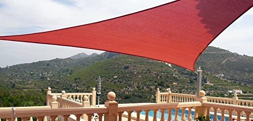 Petra's 20 Ft. X 20 Ft. X 20 Ft. Triangle Terracotta Sand Sun Sail Shade. Durable Woven Outdoor Patio Fabric w Up To 90 UV Protection. 20x20x20 Foot.