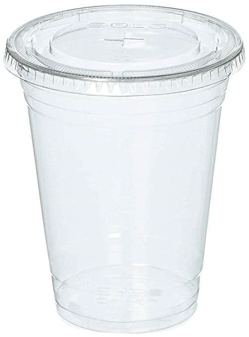 bdbb7862b08 100 Sets 24 Oz Plastic Clear Cups with Flat Lids for Iced Coffee Bubble  Boba Tea Smoothie