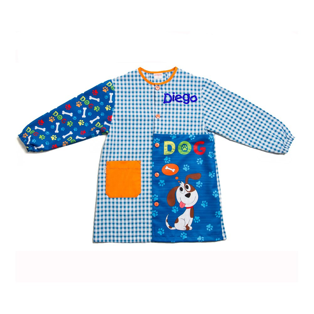 Dyneke Bata escolar botón azul Dog(personalización opcional gratuita con nombre bordado) (Talla 3): Amazon.es: Ropa y accesorios