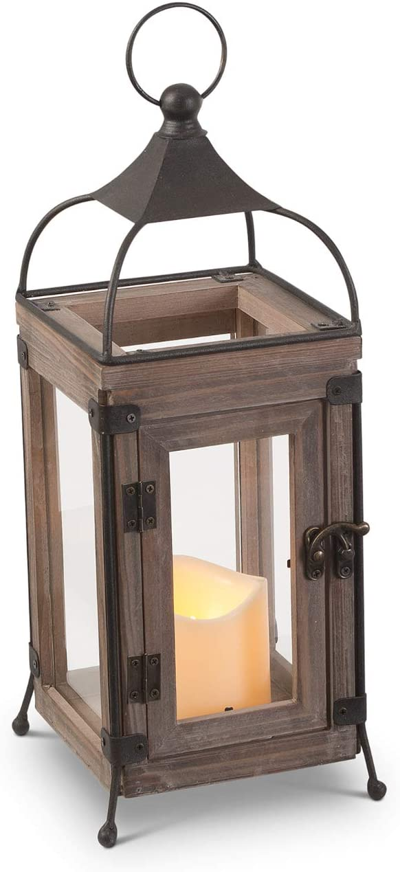 Orchid & Ivy 13.75-Inch Rustic Brown Wood and Metal Wire Decorative Lantern with LED Candle and Timer – Hanging or Tabletop Indoor Home Decor