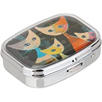 BAOBLADE Portable Cute Cat Pattern Tablelet Pill Case Storage Box With Mirror for Home Travelling