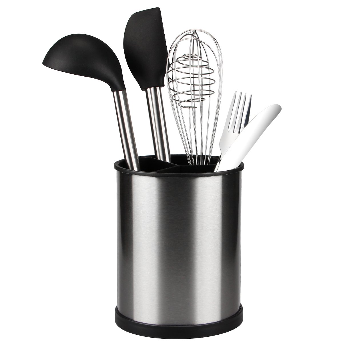 Kitchen Utensil Holder, Stainless Steel Utensil Crock Flatware Caddy Utensil Organizer Container for Kitchen Counter Top, Easily Organize Silverware with 3 Compartments