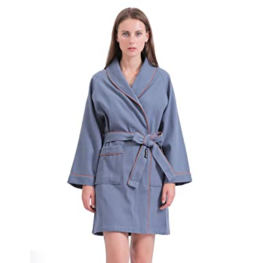 3a3d94dc58d SANLI Short Waffle Robes for Women, Lightweight Cotton SPA Bathrobe, Above  The Knee Length