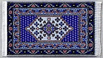 Miniatur Teppich Reines Polyester Fur Krippe Puppenhaus Weiss Blau