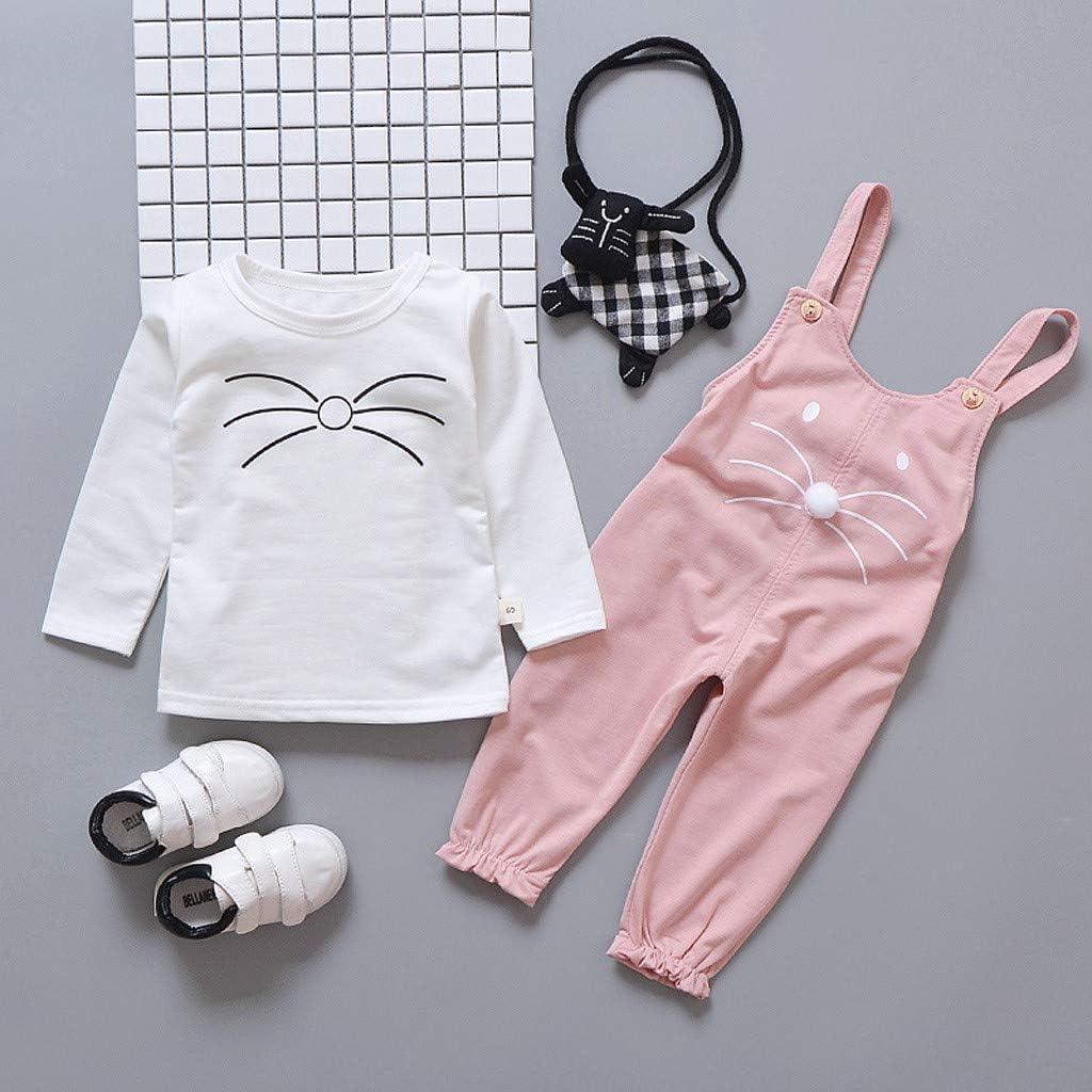 Baby Kleidung M/ädchen,TTLOVE Baumwolle Kleinkind Kinder M/ädchen Niedlichen Cartoon T-Shirt Overall Mit Hosentr/äger Hose Outfits Set