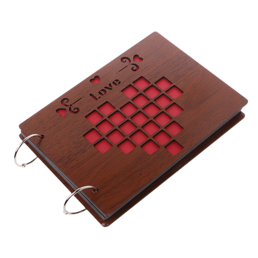 Richi 8 Inch Love Wooden Crafts Albums Red Loose-leaf Glued Baby Lovers Photo Album