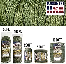 "750 Pound Test TRUE ""Mil-Spec."" (Military Specifications) Mil-C-5040-H Type IV Paracord 100% Nylon  Why Buy 550lb When You Can Get The Best 750lb Paracord For Pennies More? - Ideal for Bracelets, Survival, Belts, Wrapping Tools, Lifting, Backpacking,..."