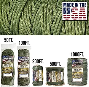 TOUGH-GRID 750lb Camo Green Paracord/Parachute Cord - Genuine Mil Spec Type IV 750lb Paracord Used by the US Military (MIl-C-5040-H) - 100% Nylon - Made In The USA. 100Ft. - Camo Green