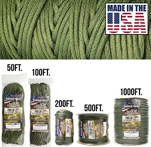 TOUGH-GRID 750lb Camo Green Paracord/Parachute Cord - Genuine Mil Spec Type IV 750lb Paracord Used by The US Military (MIl-C-5040-H) - 100% Nylon - Made in The USA. 50Ft. - Camo Green ()