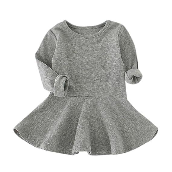 Vestido de invierno, RETUROM Bebés niña de caramelo de color de manga larga vestidos de
