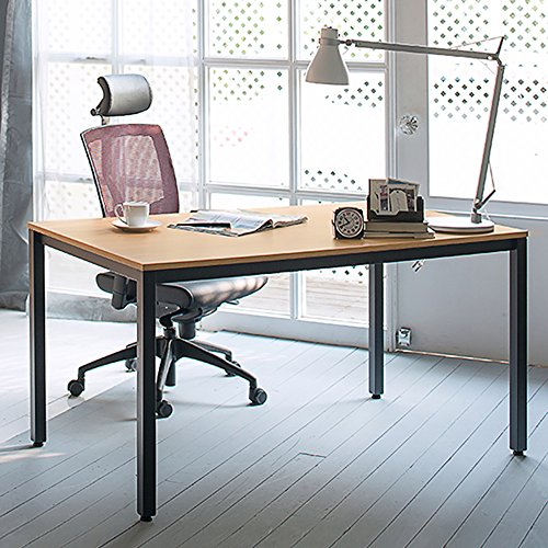 DlandHome 55 inch Computer Desk, Steady Home Office Desk/Workstation/Table, Teak