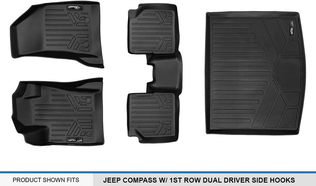 MAXLINER A0331 New Body Style Only SMARTLINER Floor Mats 1st Row Liner Set Black for 2017-2018 Jeep Compass with 1st Row Dual Driver Side Floor Hooks